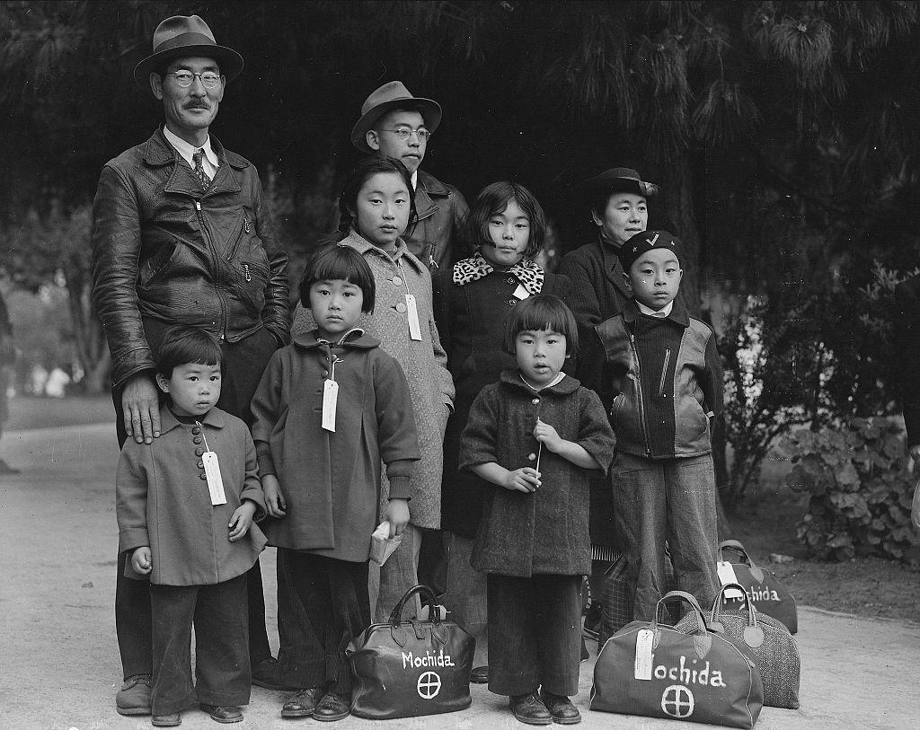 Members of the Mochida FAmily awaiting evacuation.   National Archives